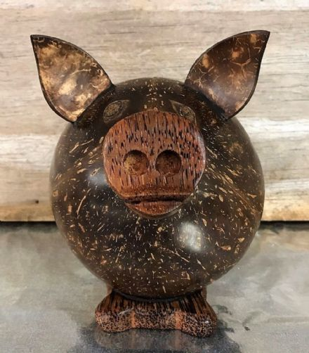 Hand Carved Brown Wooden PIG Piggy Bank Money Box